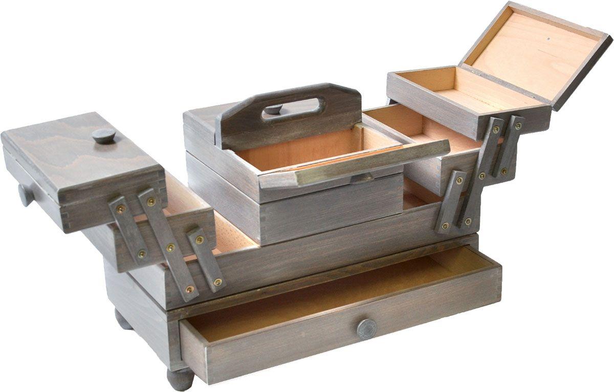 Travailleuse bois couture avec tiroir Gris antique