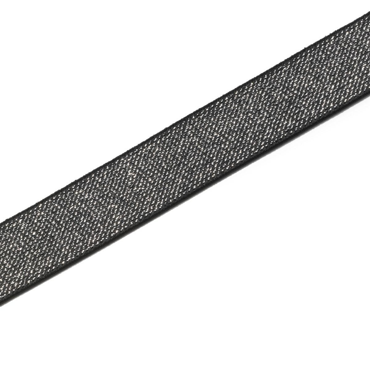Elastique Color noir et argent 25 mm - Au mètre