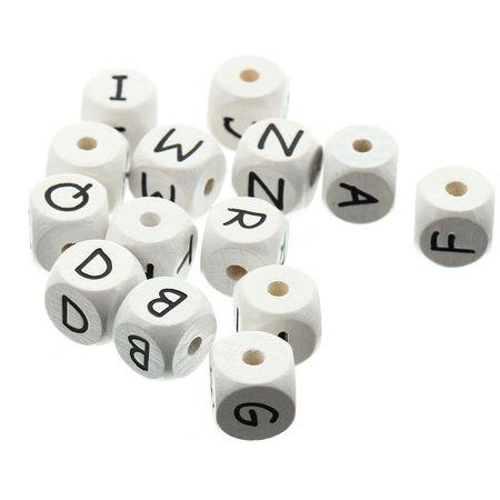 Perle lettre alphabet cube en bois blanc
