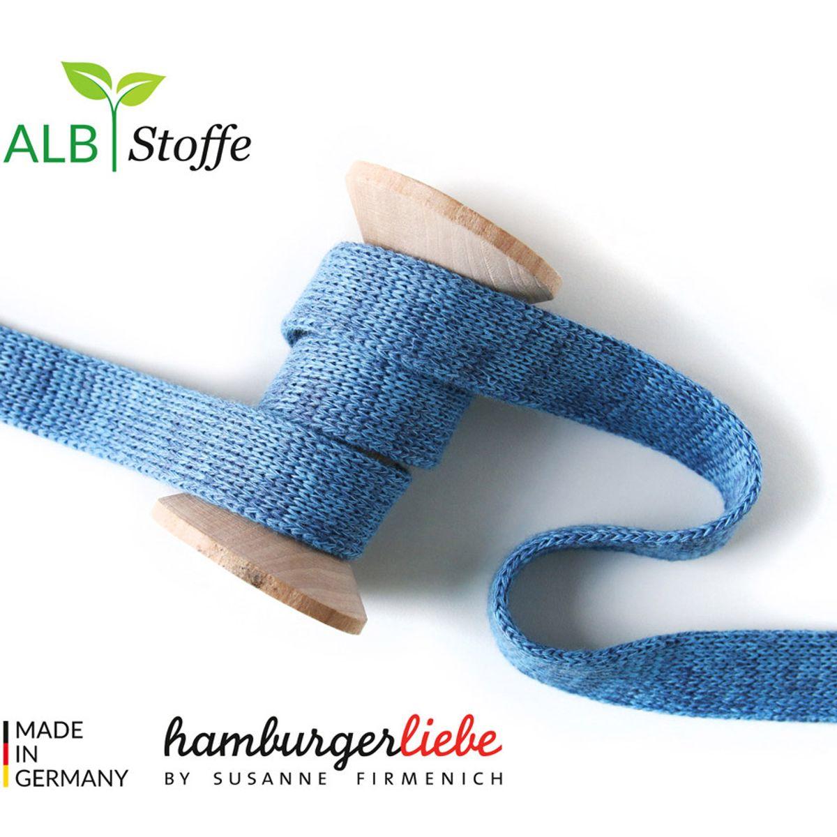 Cordon plat tricoté au mètre - Bleu mélangé