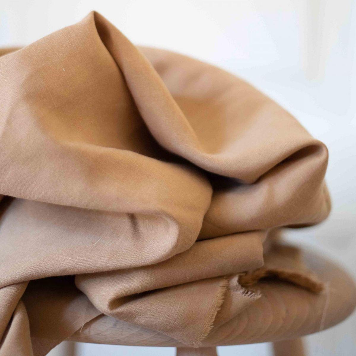 Tissu tencel et lin - Sable chaud