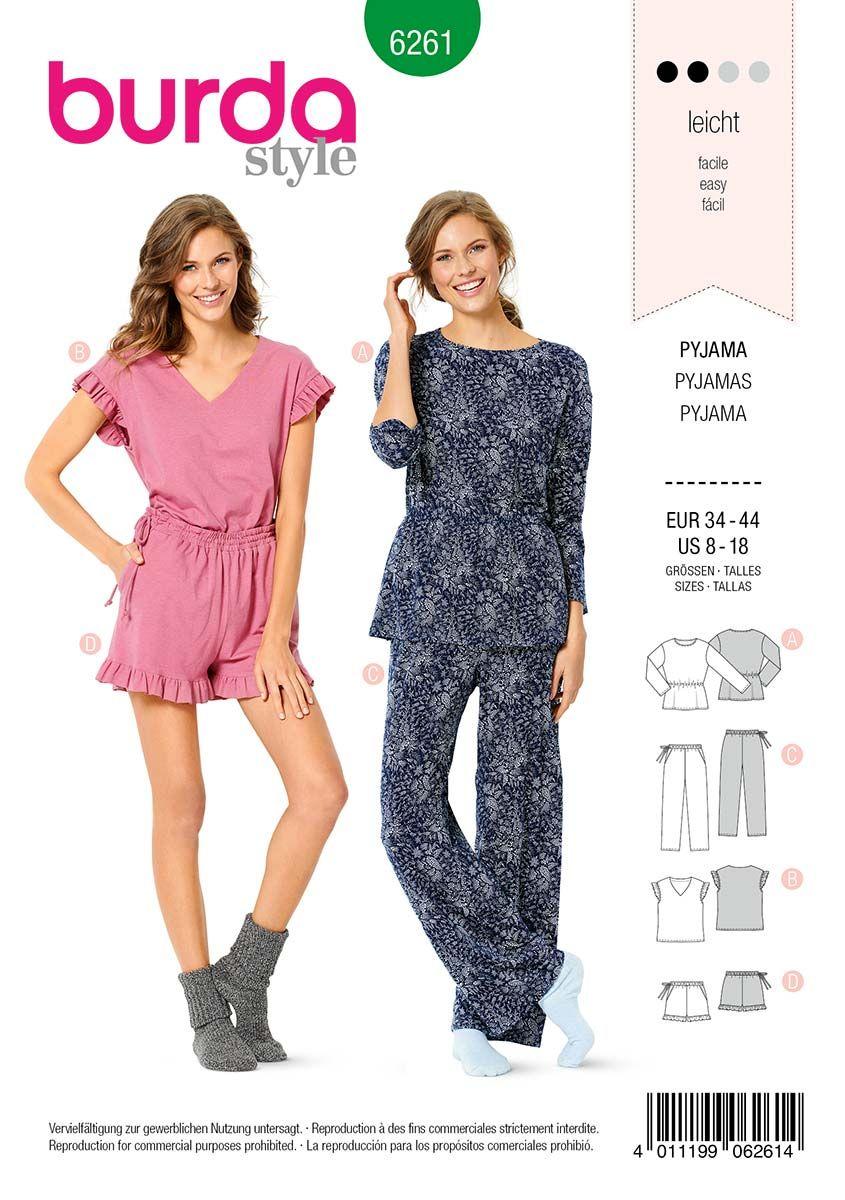 Patron de pyjama et pyjashort - Burda 6261