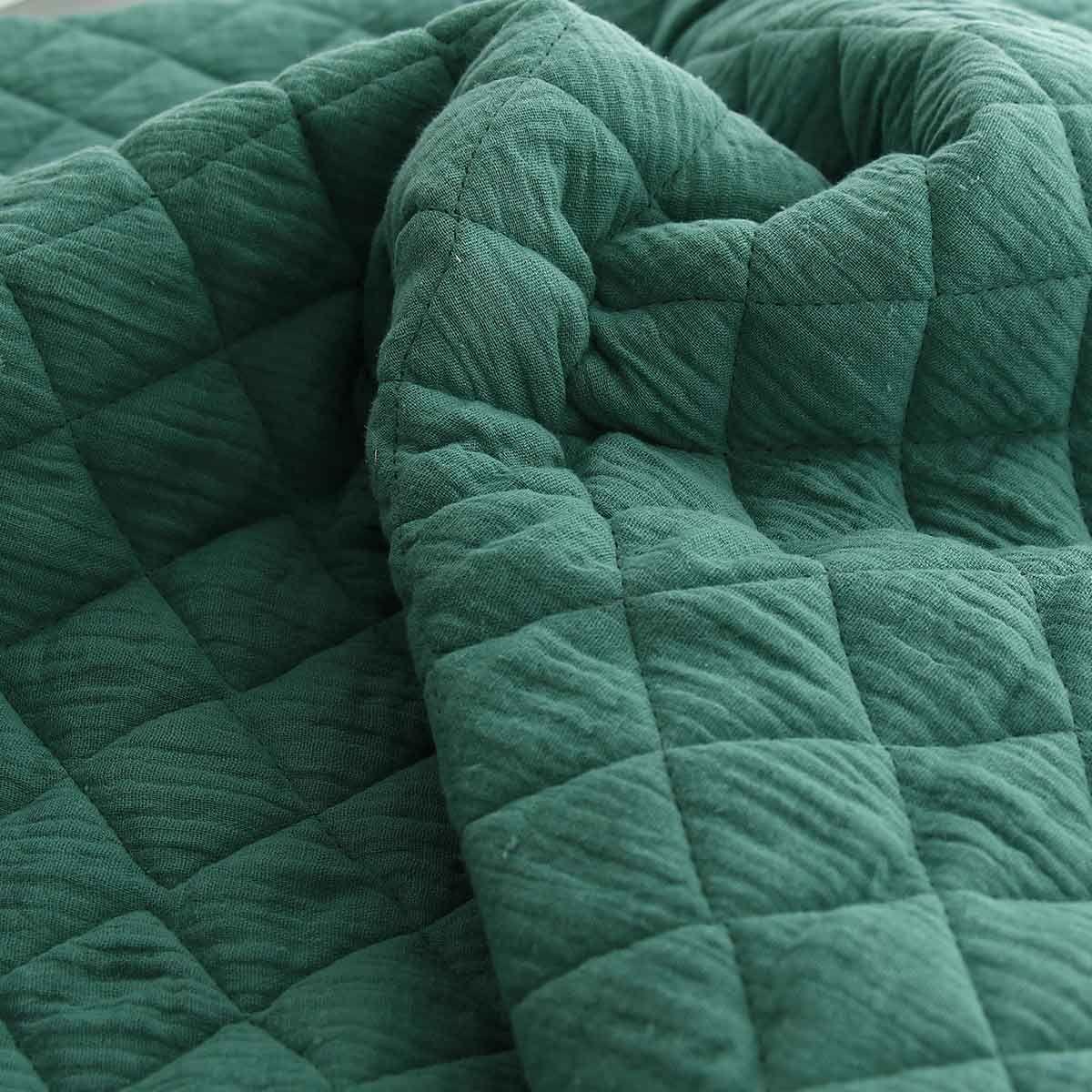 Tissu double gaze de coton matelassé - Eucalyptus