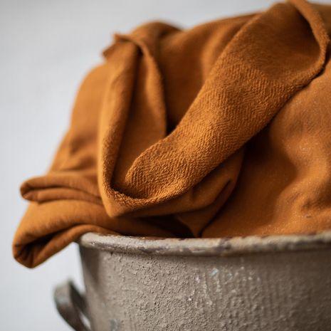 Tissu sweat moucheté BIO - Curry